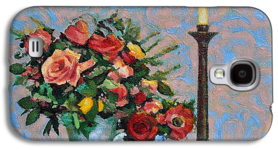 Flowers Galaxy S4 Case featuring the painting Still Life With A Lamp by Iliyan Bozhanov