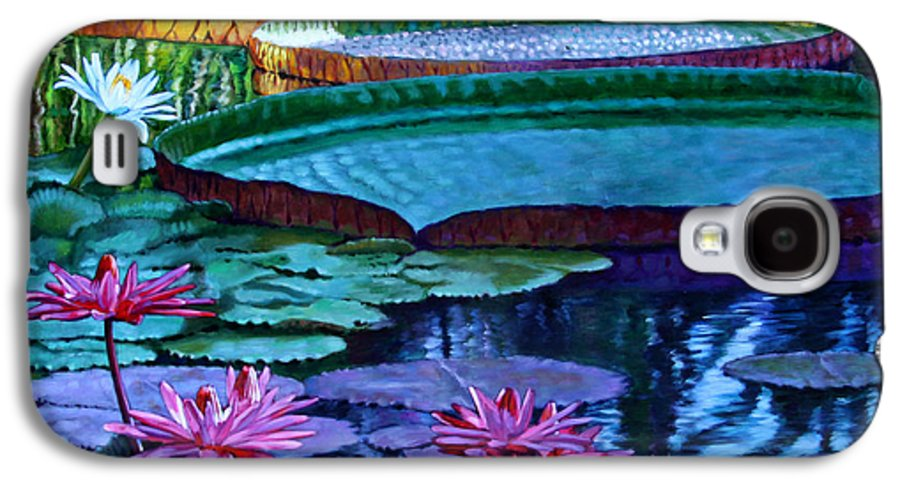 Garden Pond Galaxy S4 Case featuring the painting Stillness Of Color And Light by John Lautermilch