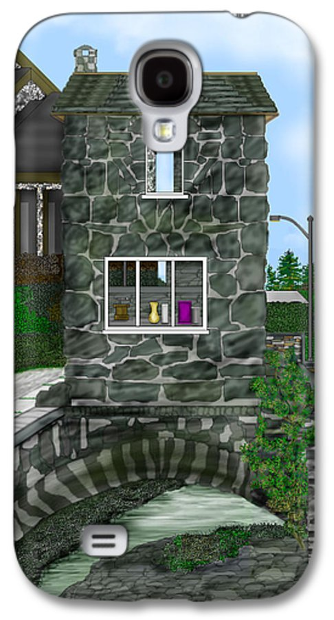 Landscape Galaxy S4 Case featuring the painting Stone Bridge House In The Uk by Anne Norskog