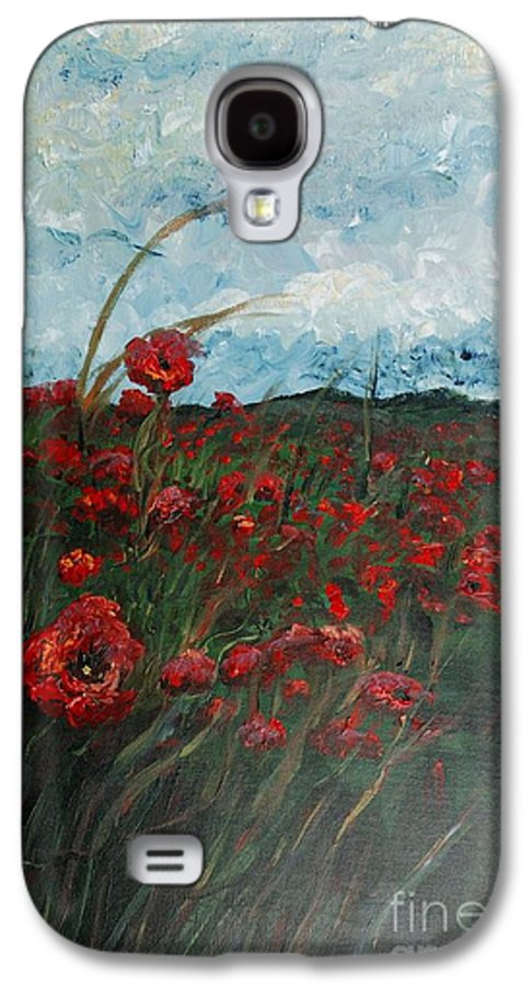 Poppies Galaxy S4 Case featuring the painting Stormy Poppies by Nadine Rippelmeyer