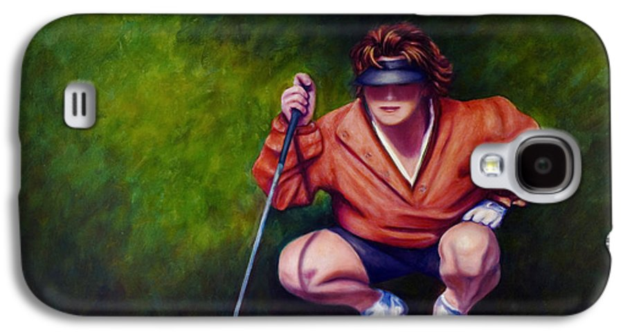 Golfer Galaxy S4 Case featuring the painting Straightshot by Shannon Grissom
