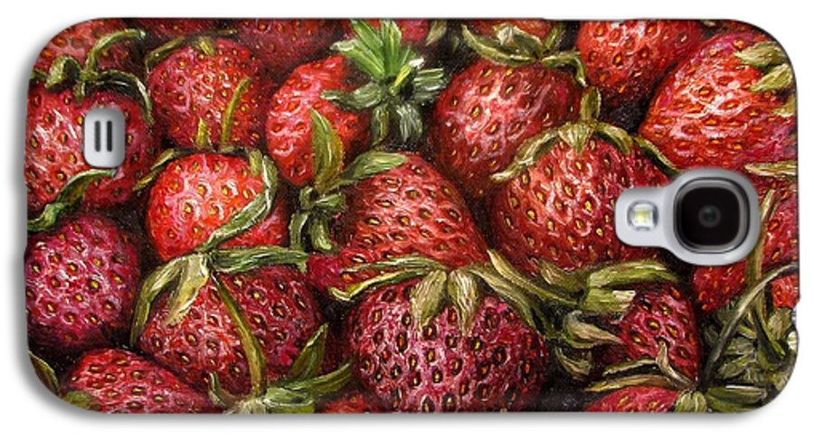 Strawberries Galaxy S4 Case featuring the painting Strawberries -2 Contemporary Oil Painting by Natalja Picugina