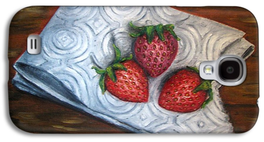Strawberries Galaxy S4 Case featuring the painting Strawberries-3 Contemporary Oil Painting by Natalja Picugina