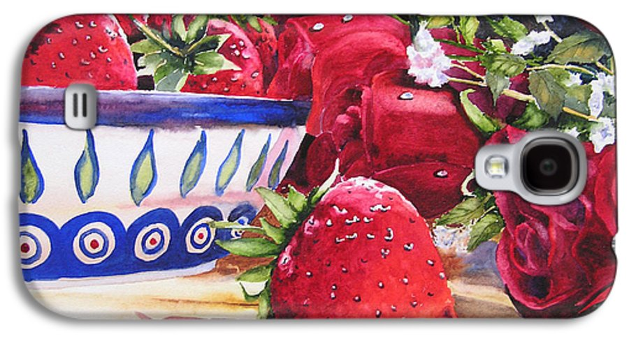 Strawberries Galaxy S4 Case featuring the painting Strawberries And Roses by Karen Stark