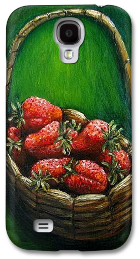 Strawberries Galaxy S4 Case featuring the painting Strawberries Contemporary Oil Painting by Natalja Picugina