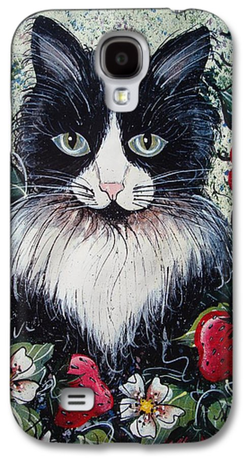 Cat Galaxy S4 Case featuring the painting Strawberry Lover Cat by Natalie Holland