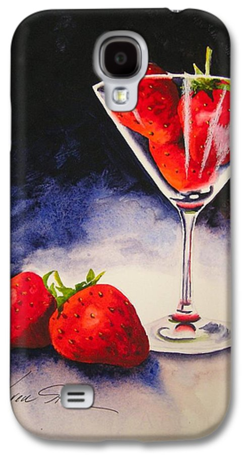 Strawberry Galaxy S4 Case featuring the painting Strawberrytini by Karen Stark