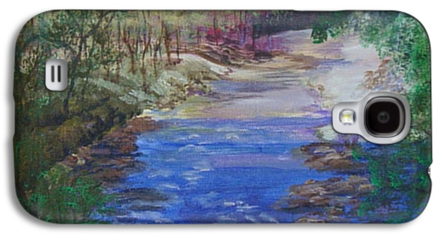 River Galaxy S4 Case featuring the painting Stream At Yosemite by Quwatha Valentine