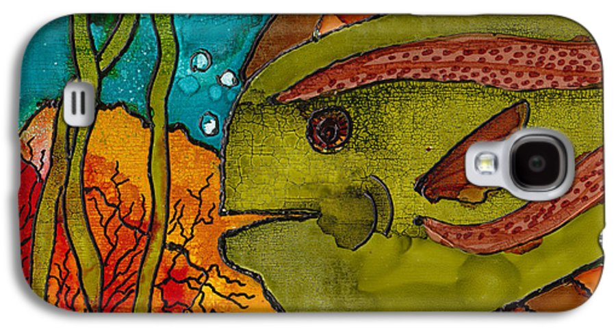 Fish Galaxy S4 Case featuring the painting Striped Fish by Susan Kubes