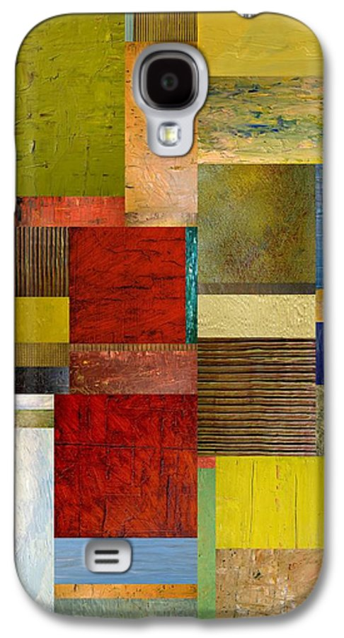 Textural Galaxy S4 Case featuring the painting Strips And Pieces L by Michelle Calkins