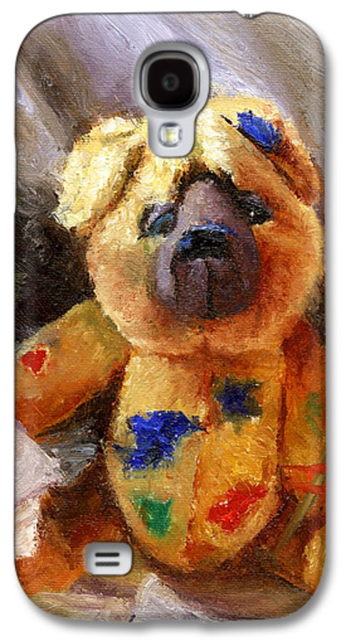 Teddy Bear Art Galaxy S4 Case featuring the painting Stuffed With Luv by Chris Neil Smith