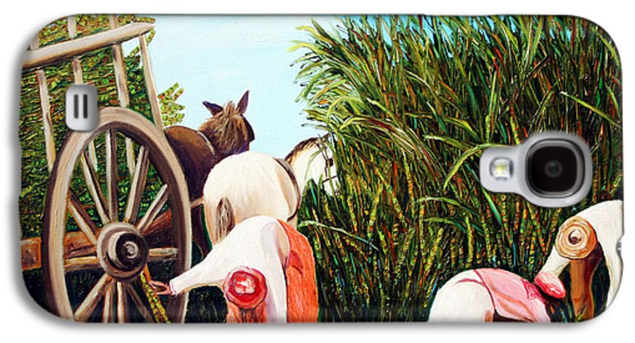 Cuban Art Galaxy S4 Case featuring the painting Sugarcane Worker 1 by Jose Manuel Abraham
