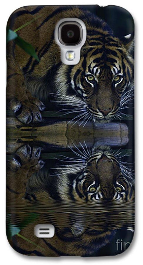 Sumatran Tiger Galaxy S4 Case featuring the photograph Sumatran Tiger Reflection by Avalon Fine Art Photography