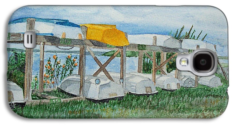 Rowboats Galaxy S4 Case featuring the painting Summer Row Boats by Dominic White