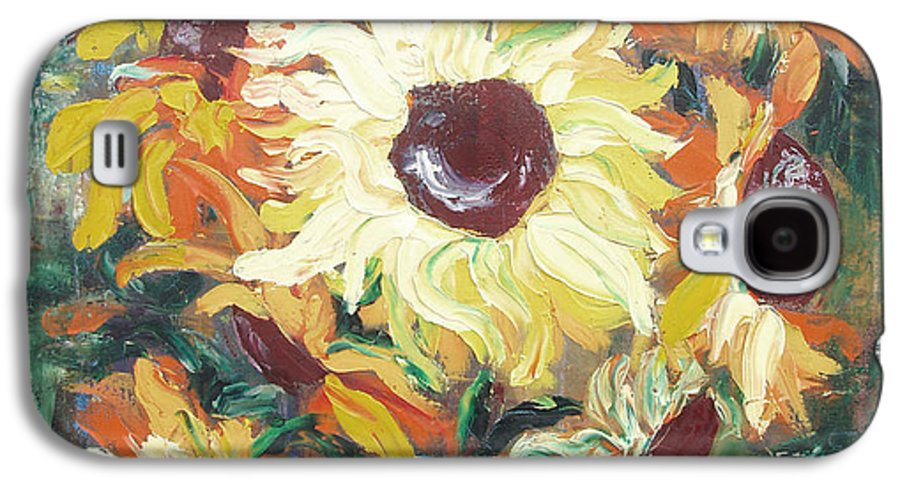 Sunflowers Galaxy S4 Case featuring the painting Sun In A Vase by Gina De Gorna