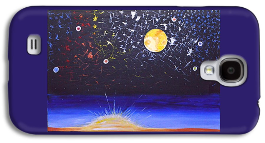 Sun Galaxy S4 Case featuring the painting Sun Moon And Stars by Donna Blossom