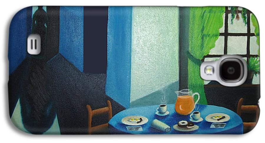 Breakfast Galaxy S4 Case featuring the painting Sunday Morning Breakfast by Nancy Mueller