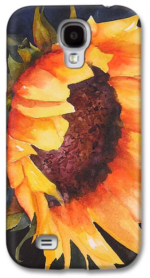 Floral Galaxy S4 Case featuring the painting Sunflower by Karen Stark