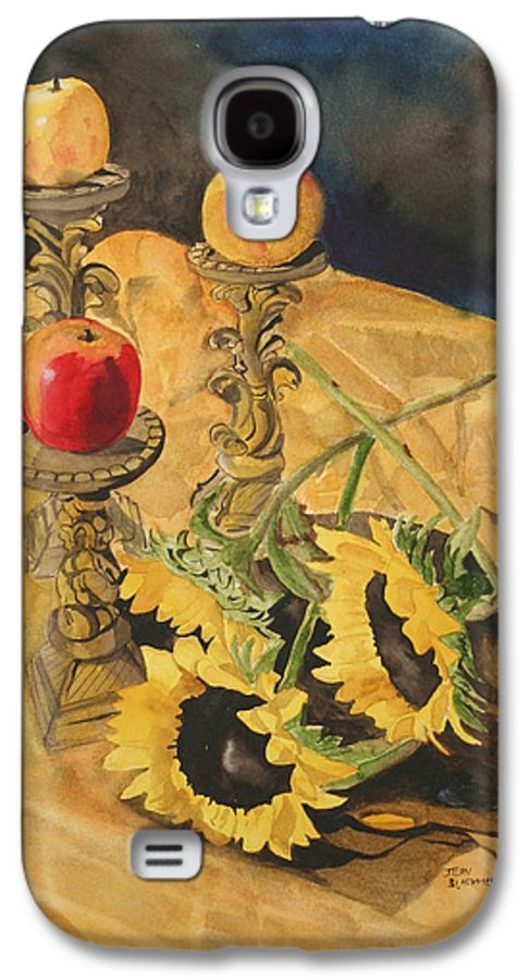 Still Life Galaxy S4 Case featuring the painting Sunflowers And Apples by Jean Blackmer