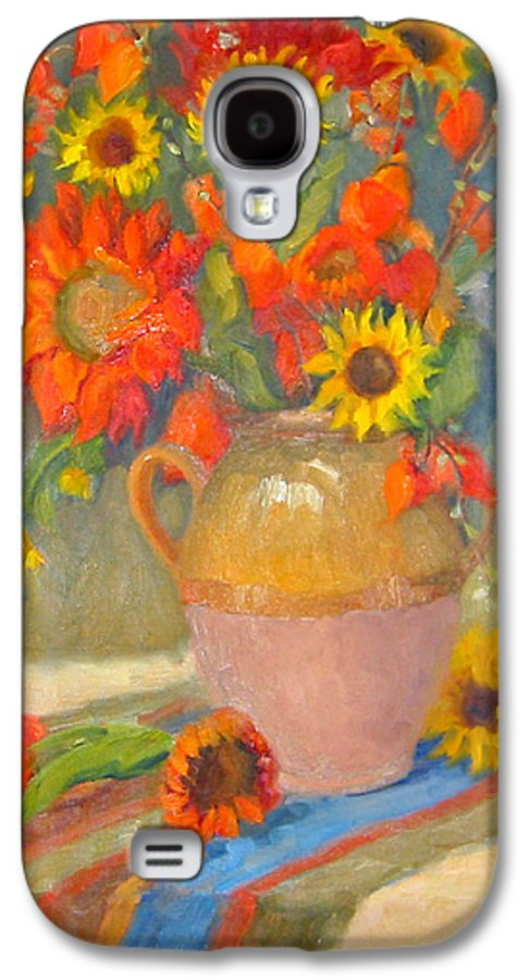 Sunflowers Galaxy S4 Case featuring the painting Sunflowers And More by Bunny Oliver