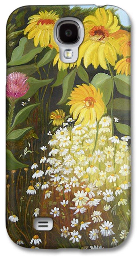 Landskape Galaxy S4 Case featuring the painting Sunflowers by Antoaneta Melnikova- Hillman