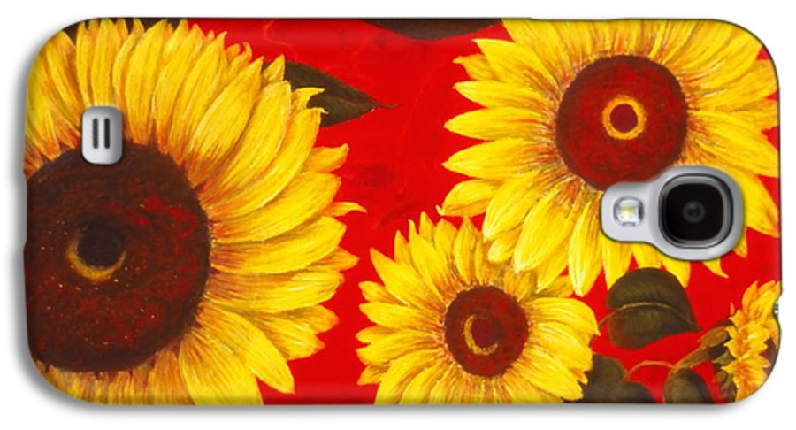 Flowers Galaxy S4 Case featuring the painting Sunflowers IIi by Mary Erbert