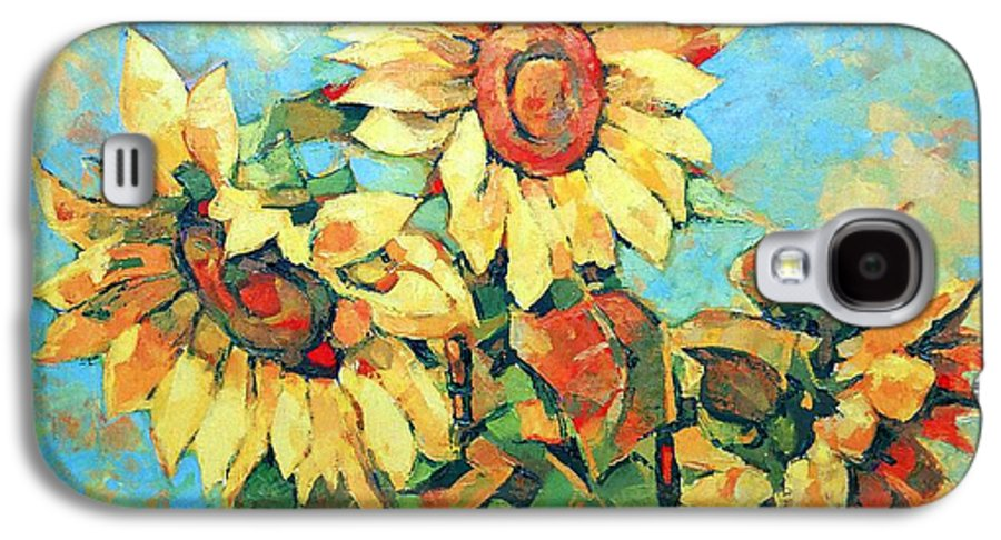 Sunflowers Galaxy S4 Case featuring the painting Sunflowers by Iliyan Bozhanov