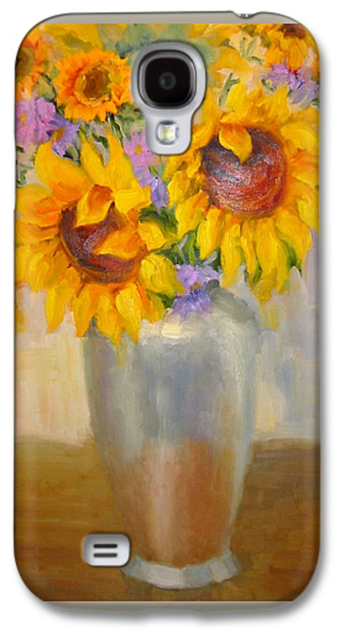Sunflowers Galaxy S4 Case featuring the painting Sunflowers In A Silver Vase by Bunny Oliver