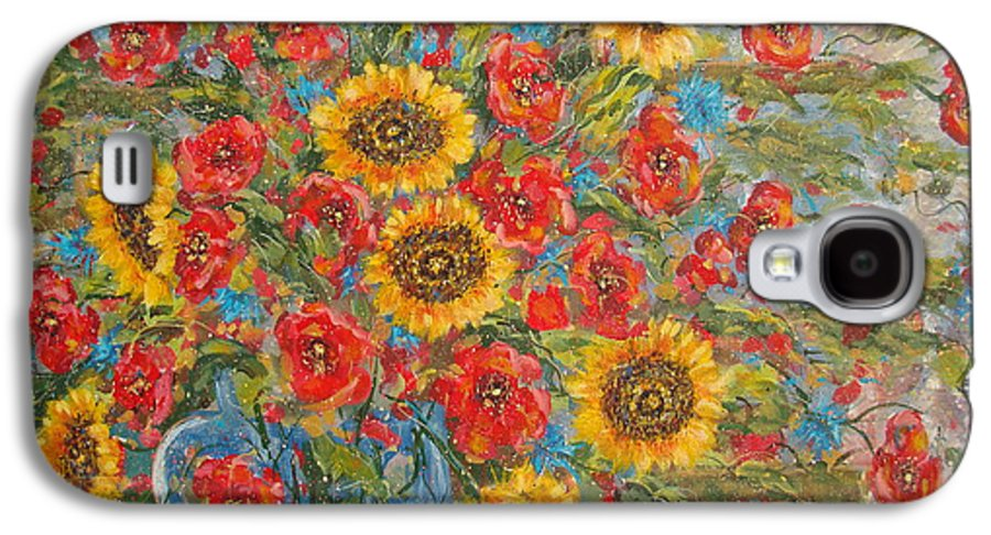 Flowers Galaxy S4 Case featuring the painting Sunflowers In Blue Pitcher. by Leonard Holland