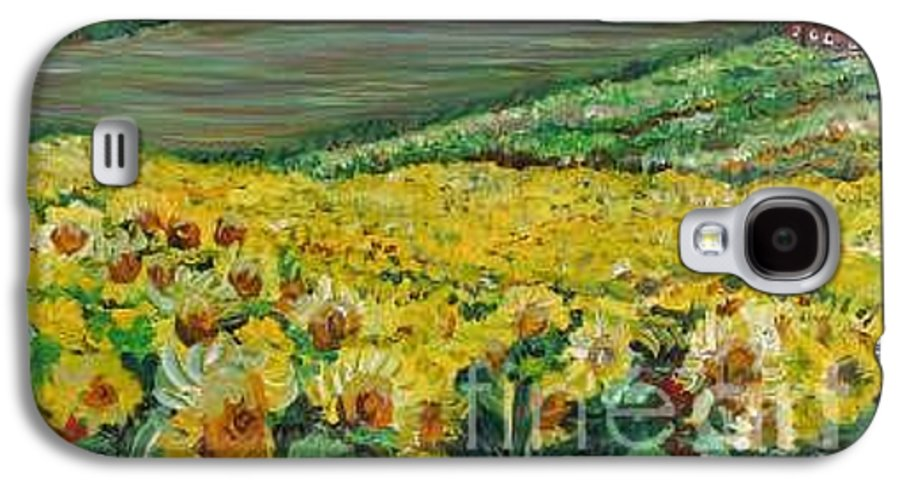 A Field Of Yellow Sunflowers Galaxy S4 Case featuring the painting Sunflowers In Provence by Nadine Rippelmeyer