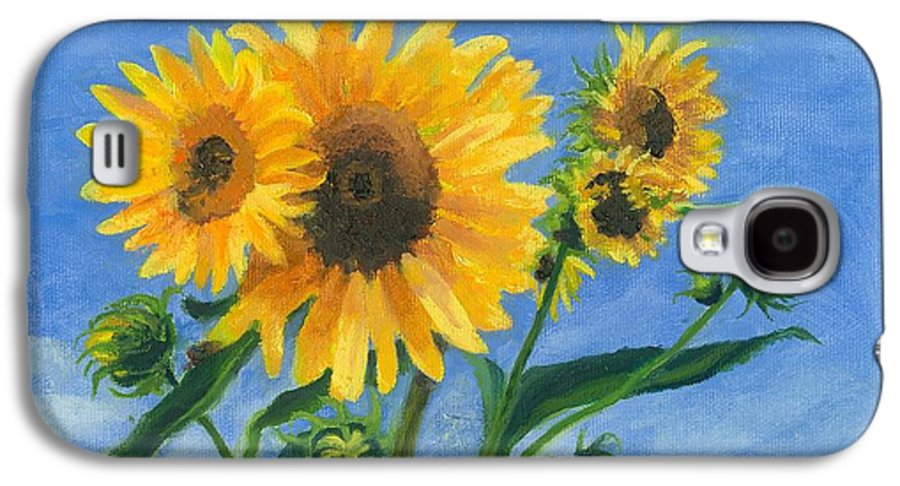 Flowers Galaxy S4 Case featuring the painting Sunflowers On Bauer Farm by Paula Emery