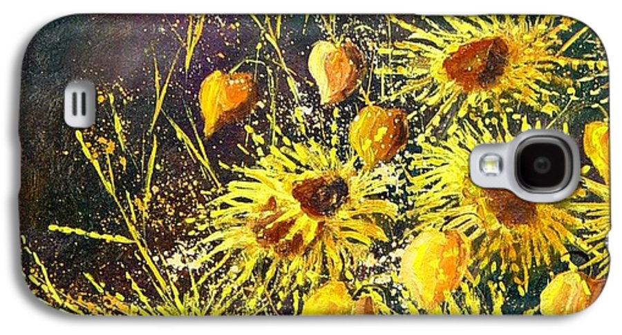 Flowers Galaxy S4 Case featuring the painting Sunflowers by Pol Ledent