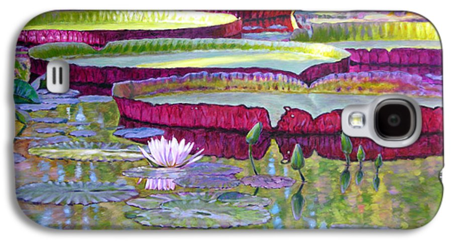 Lily Pond Galaxy S4 Case featuring the painting Sunlight On Lily Pads by John Lautermilch