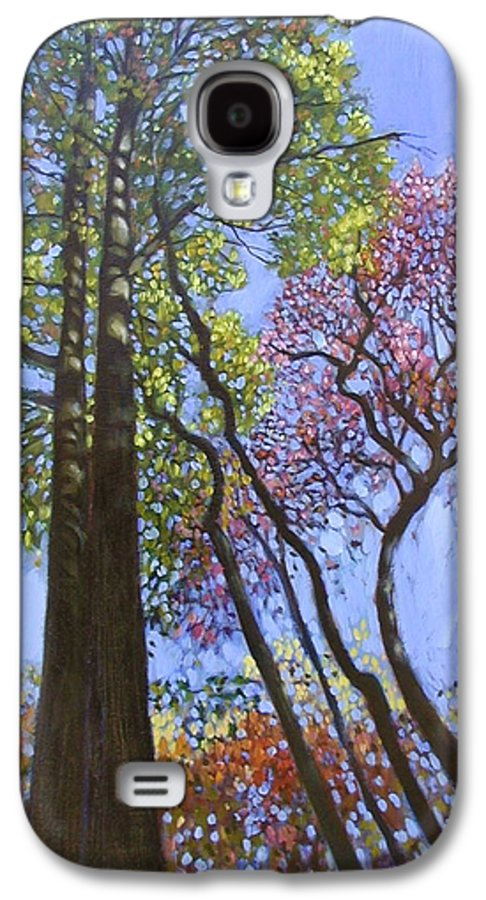 Fall Trees Highlighted By The Sun Galaxy S4 Case featuring the painting Sunlight On Upper Branches by John Lautermilch
