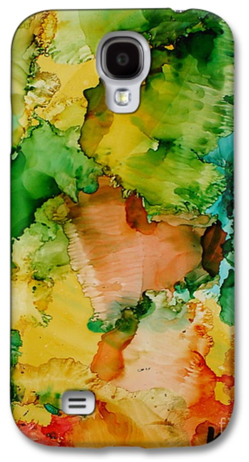 Abstract Galaxy S4 Case featuring the painting Sunlit Reef by Susan Kubes