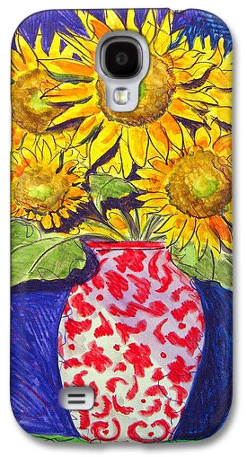 Sunflower Galaxy S4 Case featuring the painting Sunny Disposition by Jean Blackmer
