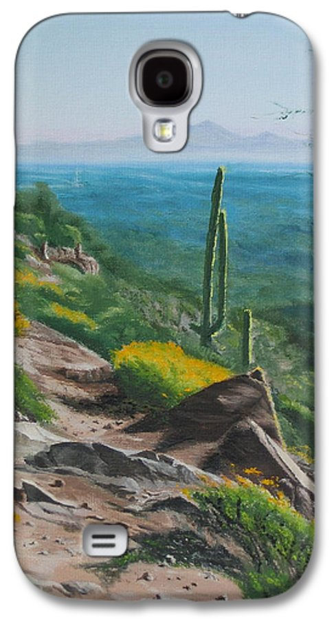 Landscape Galaxy S4 Case featuring the painting Sunrise Trail by Lea Novak