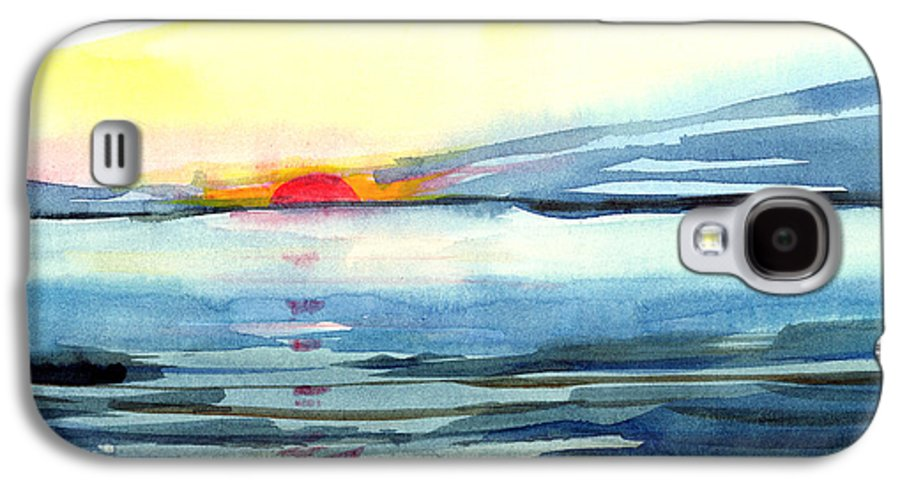Landscape Seascape Ocean Water Watercolor Sunset Galaxy S4 Case featuring the painting Sunset by Anil Nene