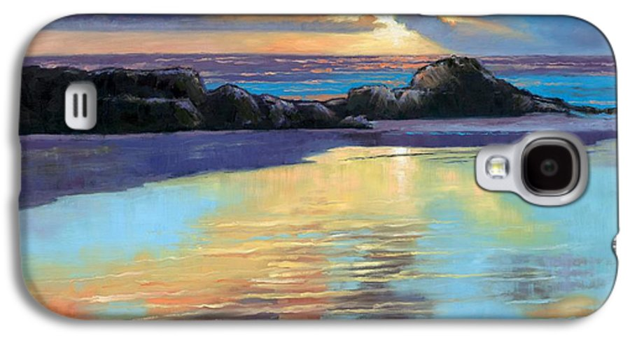 Beach Galaxy S4 Case featuring the painting Sunset At Havika Beach by Janet King