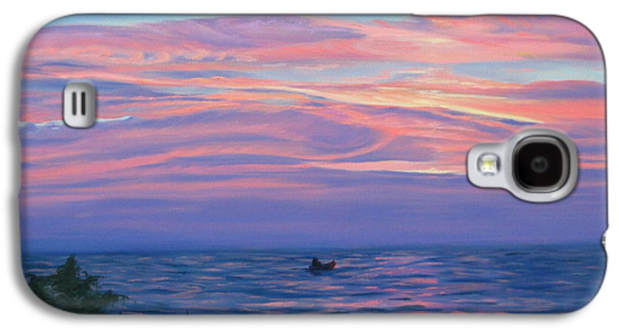 Seascape Galaxy S4 Case featuring the painting Sunset Bay by Lea Novak