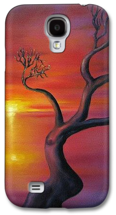 Landscape Galaxy S4 Case featuring the painting Sunset Dance Fantasy Oil Painting by Natalja Picugina