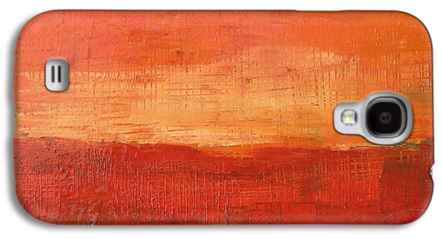 Abstract Galaxy S4 Case featuring the painting Sunset by Habib Ayat