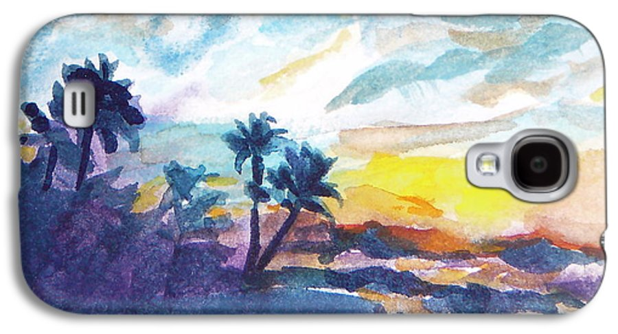 Landscape Galaxy S4 Case featuring the painting Sunset In Hawaii by Jan Bennicoff