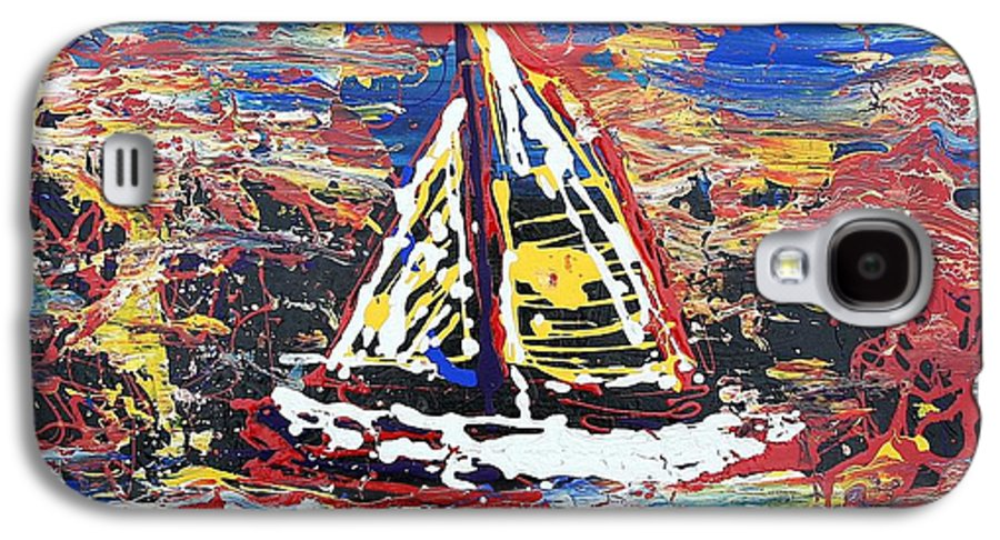 Sailboat Galaxy S4 Case featuring the painting Sunset On The Lake by J R Seymour