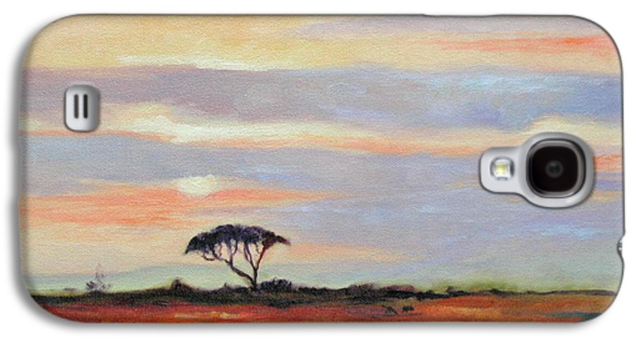 Landscape Galaxy S4 Case featuring the painting Sunset On The Serengheti by Ginger Concepcion