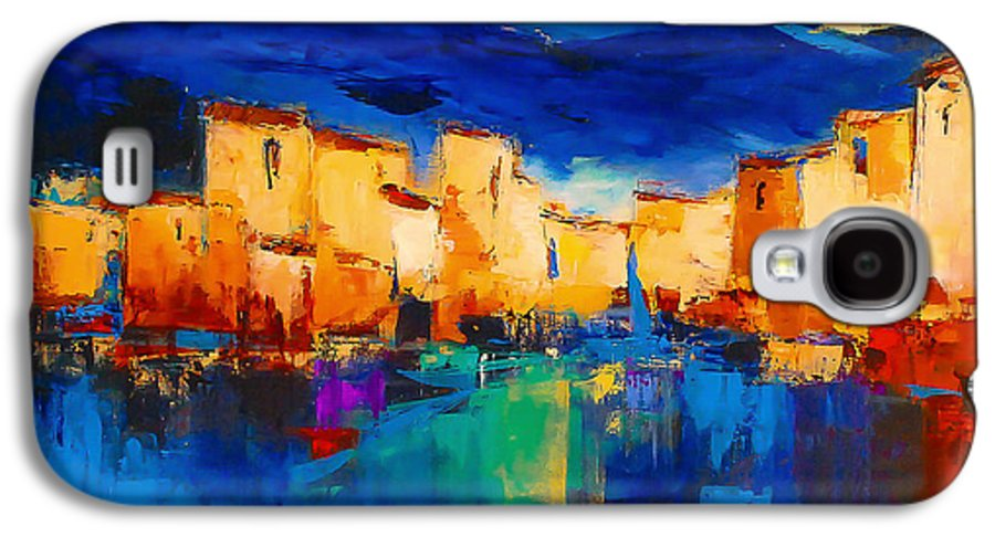 Cinque Terre Galaxy S4 Case featuring the painting Sunset Over The Village by Elise Palmigiani