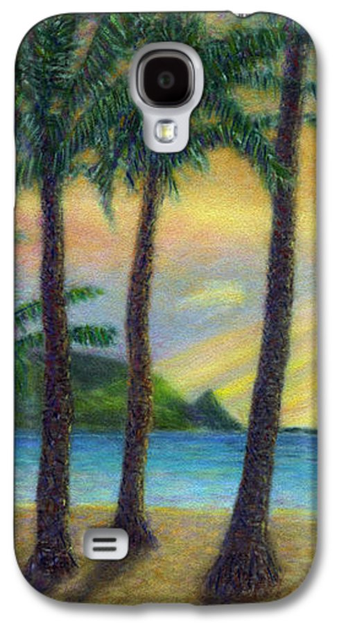 Rainbow Colors Pastel Galaxy S4 Case featuring the painting Sunset Palms by Kenneth Grzesik
