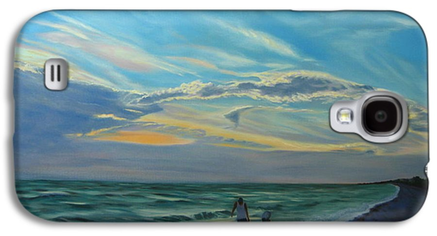 Seascape Galaxy S4 Case featuring the painting Sunset Treasure Hunt by Lea Novak
