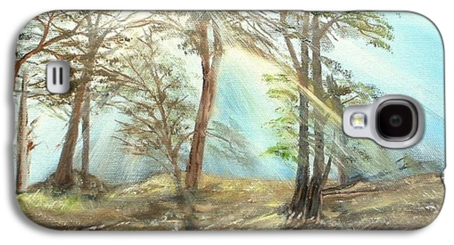 Landscape River Trees Sunshine Reflections Galaxy S4 Case featuring the painting Sunshine by Kenneth LePoidevin