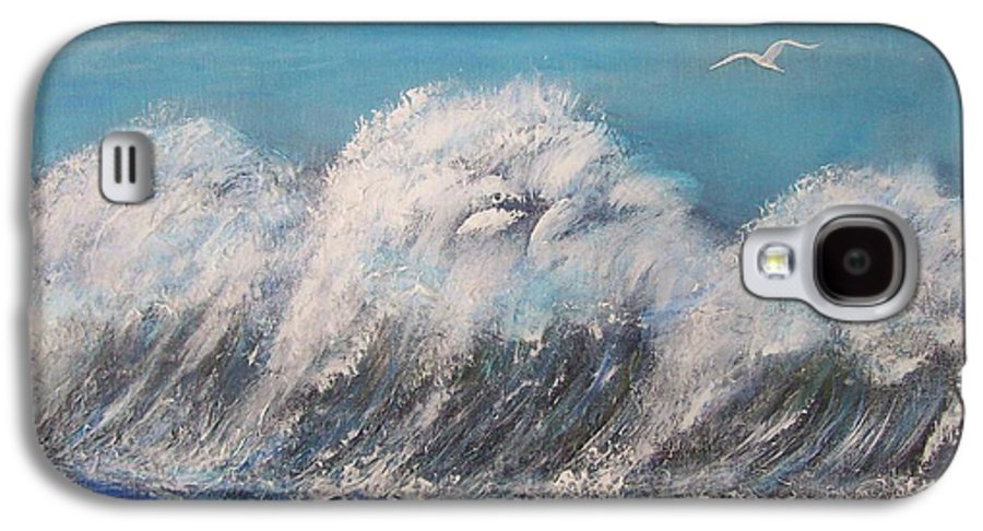 Surreal Tsunami Galaxy S4 Case featuring the painting Surreal Tsunami by Tony Rodriguez